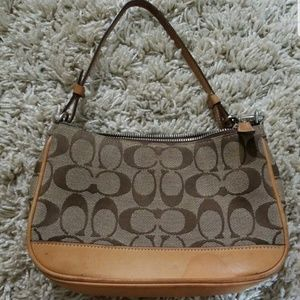 COACH Signature Tan Canvas w/ Brown Leather